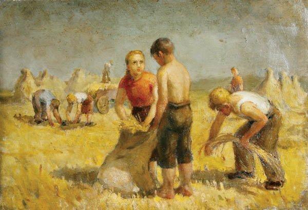 730: Russian School (20th century) Harvesting Scene (w
