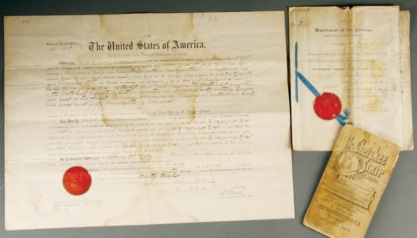 1339: NATIVE AMERICAN INDIAN LAND GRANTS a pair, one Ch