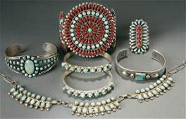 1383: SEVEN ZUNI TURQUOISE AND SILVER JEWELRY mid 20th