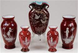 MARY GREGORY CASED GLASS VASES C 1890