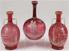MARY GREGORY CRANBERRY GLASS VASES C 1900