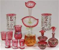 13 PIECES OF VICTORIAN ART GLASS