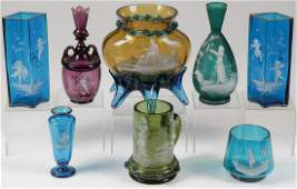 EIGHT PIECES MARY GREGORY GLASS, C. 1890
