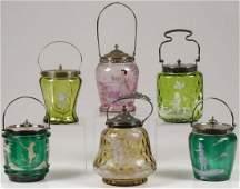 SIX MARY GREGORY CRACKER JARS, C. 1900-20