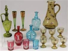 16 PCS BOHEMIAN ENAMELED ART GLASS, 19TH C