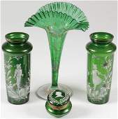FOUR PIECES MARY GREGORY GLASS, C. 1900