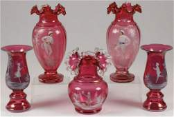 FIVE PIECES MARY GREGORY CRANBERRY GLASS