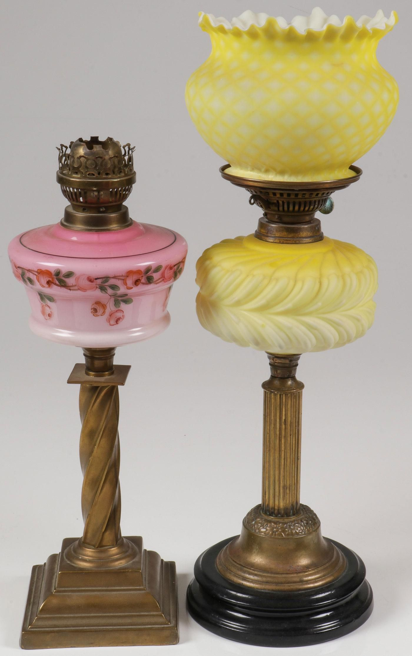 TWO VICTORIAN ART GLASS PARLOR LAMPS