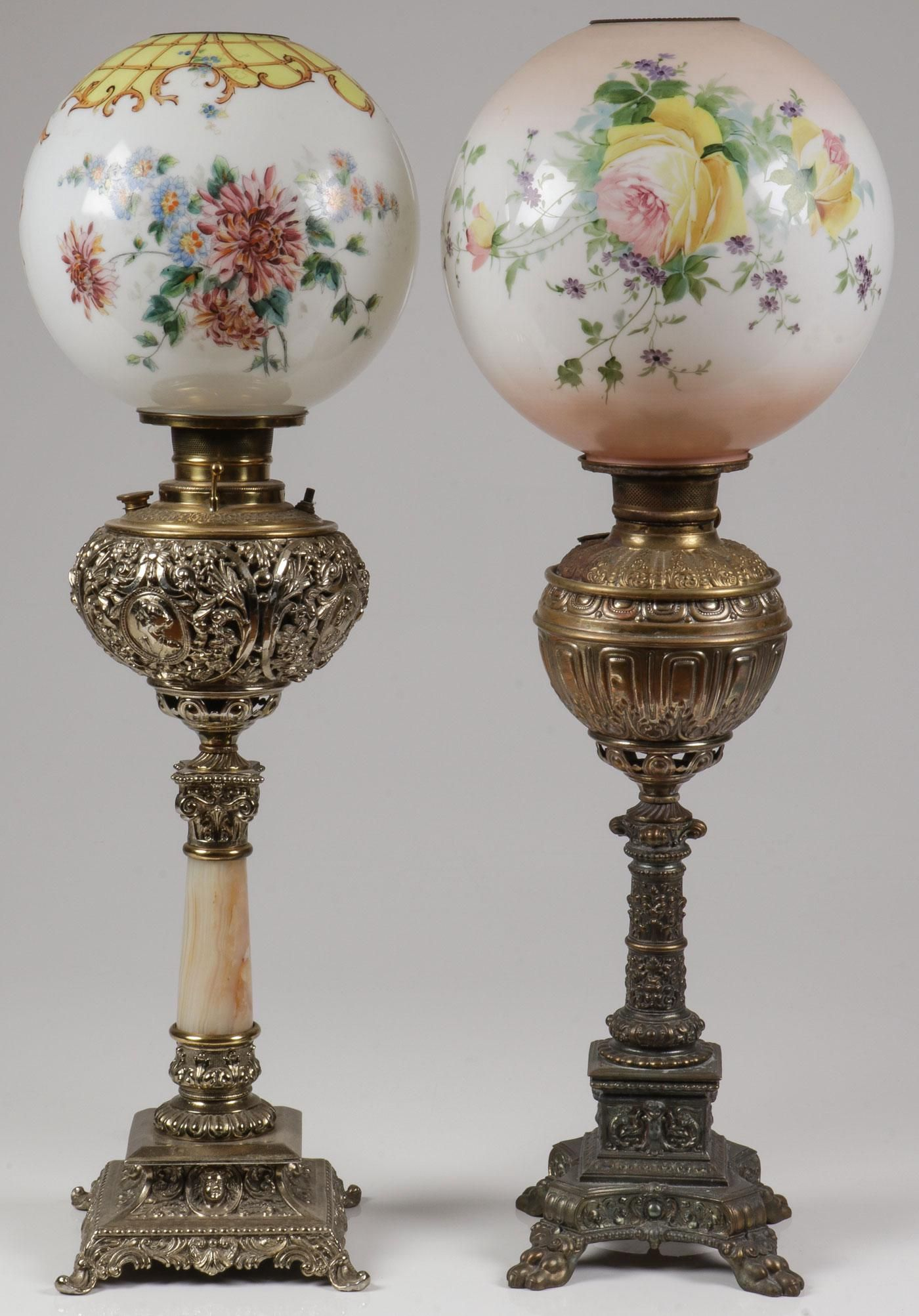 A PAIR OF SPECTACULAR BANQUET LAMPS, 19TH C
