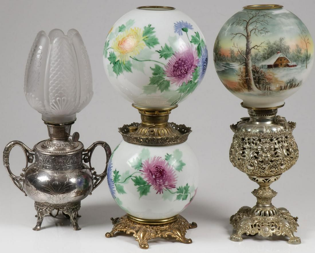 THREE VINTAGE VICTORIAN PARLOR LAMPS