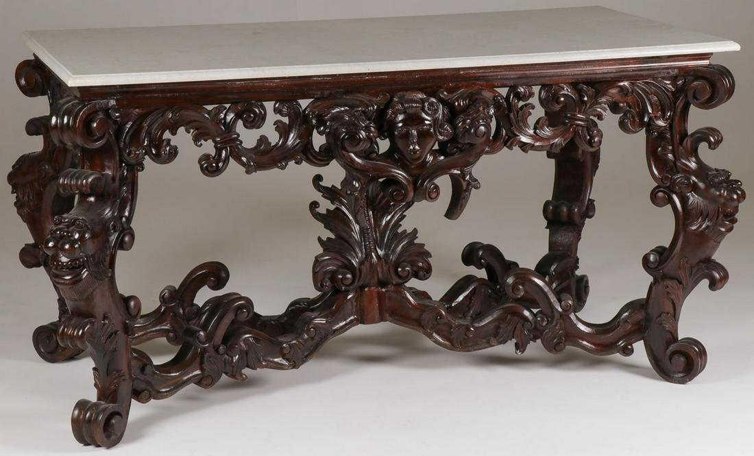 HEAVILY CARVED CONSOLE TABLE