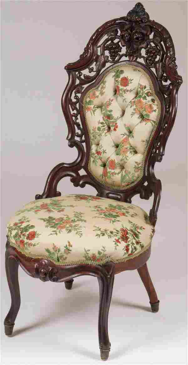 ROCOCO REVIVAL CARVED ROSEWOOD CHAIR