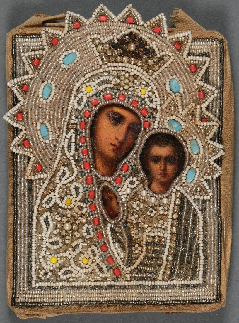 A RUSSIAN ICON OF THE KAZAN MOTHER OF GOD, 19TH C