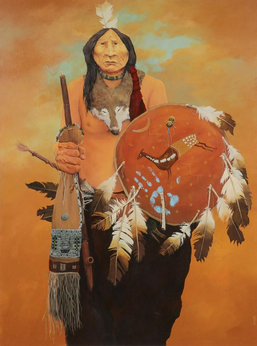 LARGE SIGNED NATIVE AMERICAN OIL PAINTING