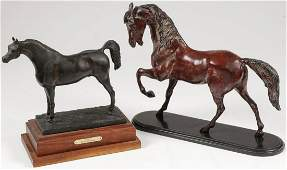 A PAIR OF EQUESTRIAN BRONZES