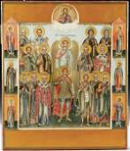 254: RUSSIAN ICON of Selected Saints, Mstera, probably