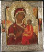 502: RUSSIAN ICON: The Tikhvin Mother of God, 18th cen