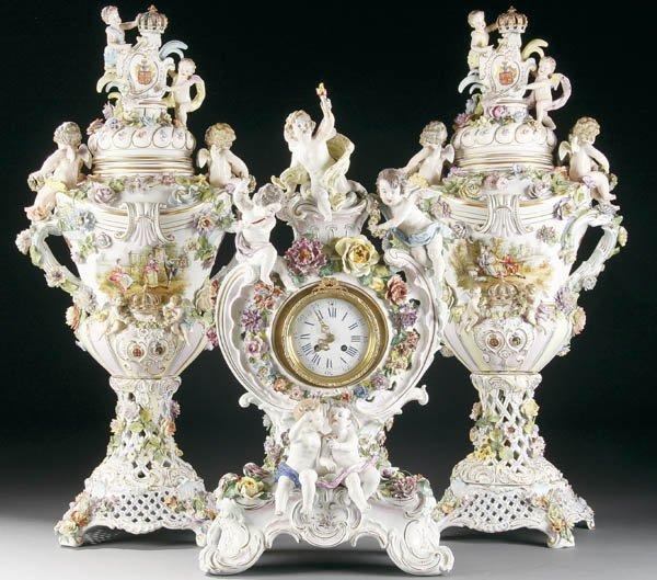 899:  CARL THIEME DRESDEN PORCELAIN CLOCK URNS