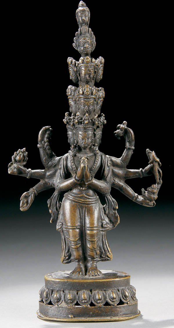 1004: AN INDIAN BRONZE FIGURE OF DURGA 19th century, th