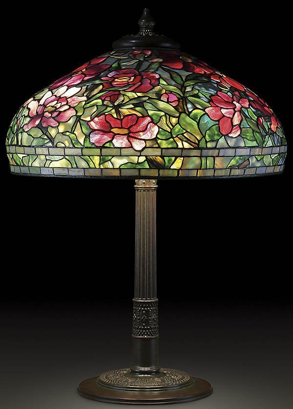 1: TIFFANY FAVRILE PEONY LEADED GLASS TABLE LAMP