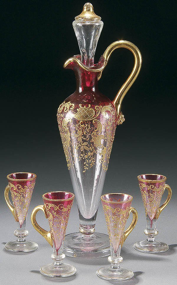 11: A BOHEMIAN ENAMELED GLASS CORDIAL SET 5-piece, ea