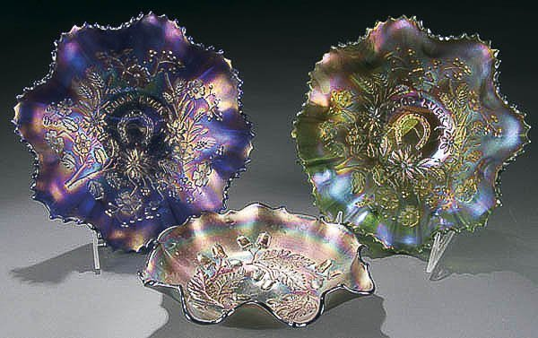 "19: TWO NORTHWOOD ""GOOD LUCK"" CARNIVAL GLASS BOWLS ea"