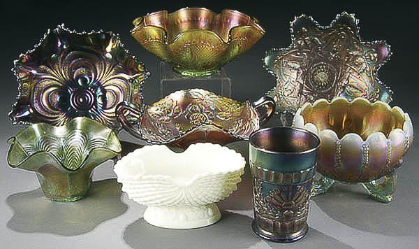 20: 7-PIECE CARNIVAL GLASS COLLECTION early 20th cent