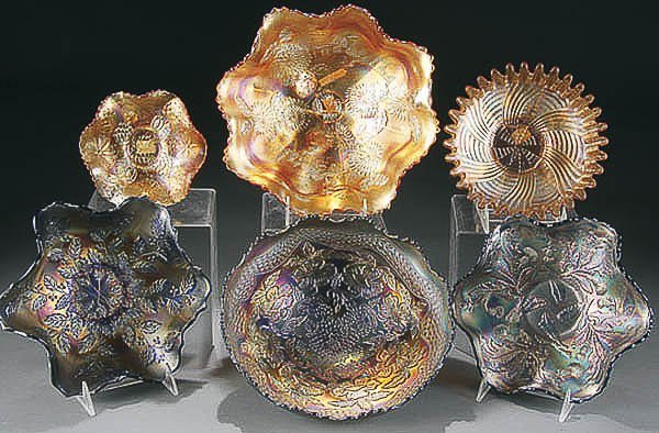 21: 6-PIECE CARNIVAL GLASS COLLECTION early 20th cent