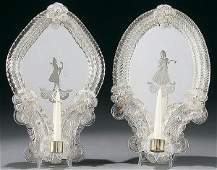 26 PAIR OF VENETIAN GLASS ETCHED MIRROR WALL SCONCES