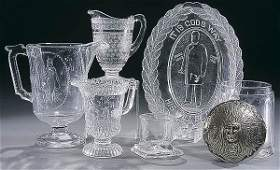 27: AN EARLY AMERICAN PRESSED GLASS GROUP 6 pieces in