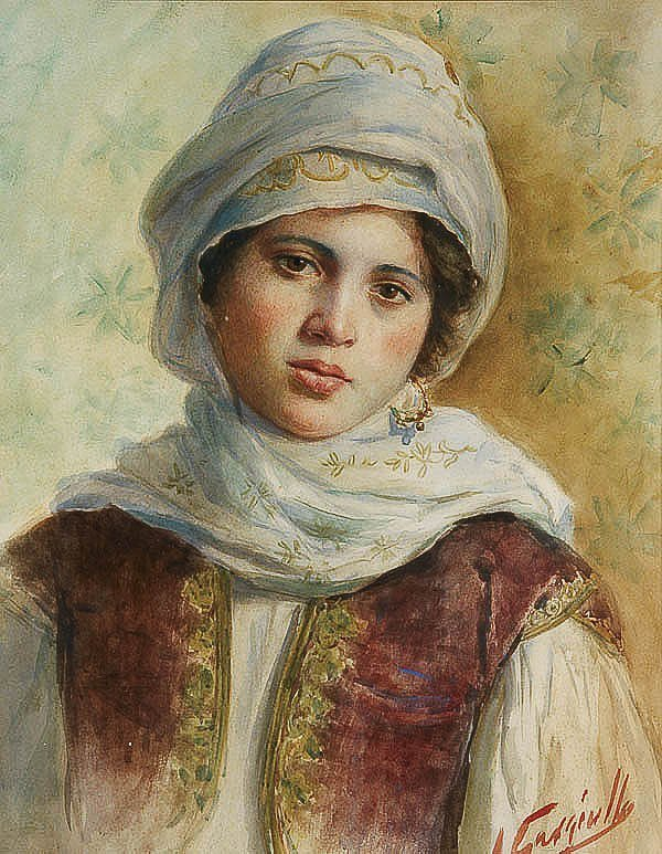 658: WATERCOLOR PAINTING, Antonio Garagiullo, portrait