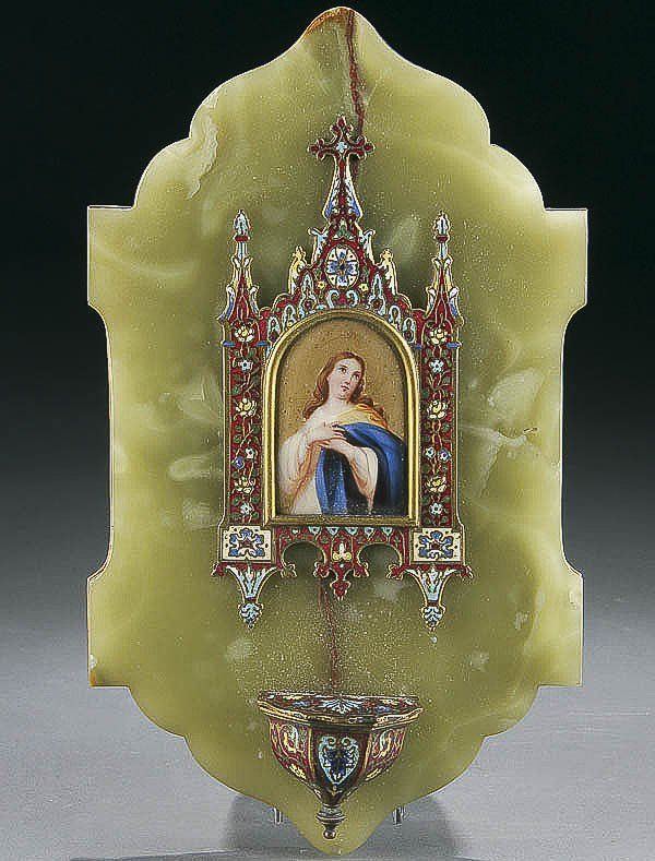 HOLY WATER FONT, CHAMPLEVE ENAMEL, PAINTED PORCELA