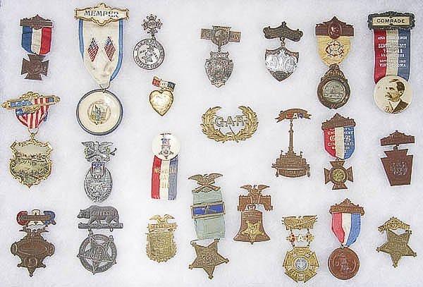 923: U.S. CIVIL WAR G.A.R. BADGES, a collection of 23