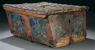 1041: 18TH C. POLYCHROME & WROUGHT IRON STRONG BOX
