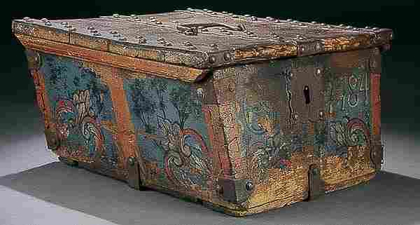 18TH C. POLYCHROME & WROUGHT IRON STRONG BOX