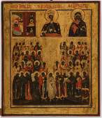 A FINE RUSSIAN ICON, MOTHER OF GOD WITH SAINTS, 1