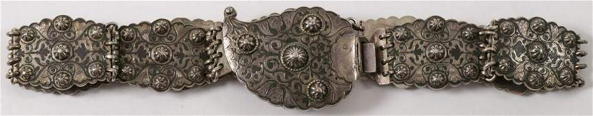 A HEAVY RUSSIAN SILVER NIELLO BELT C 1900