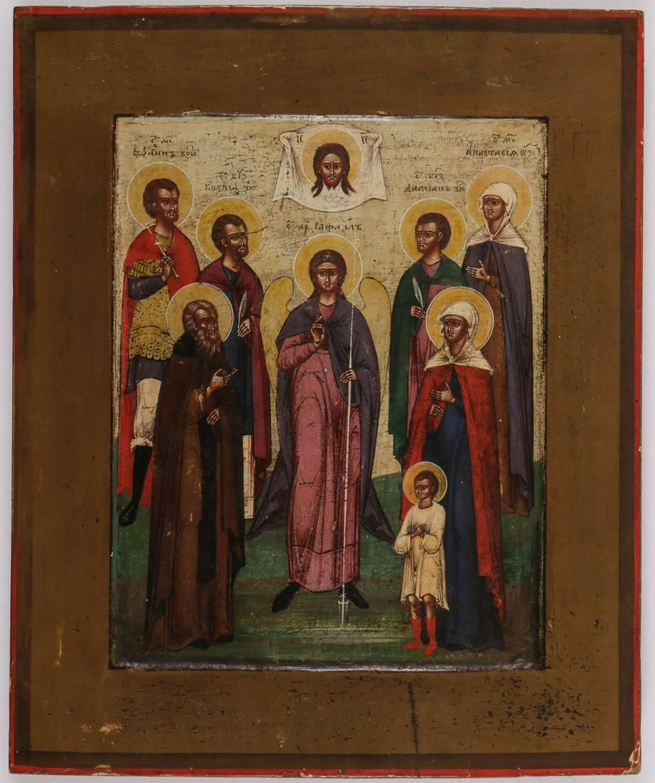 A RUSSIAN ICON, SELECTED SAINTS