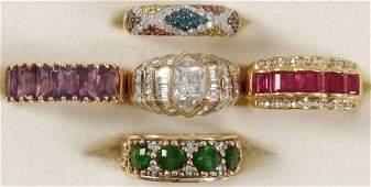 LADIES LOVELY GOLD & GEMSTONE RINGS