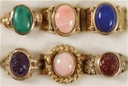 SIX LADIES GOLD & GEMSTONE RINGS