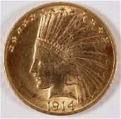 A 1914 U.S. 10 DOLLAR GOLD COIN