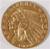1909 U.S. INDIAN HEAD $5 GOLD COIN