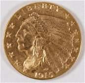 A U.S. 1915 2 1/2 DOLLAR INDIAN GOLD COIN