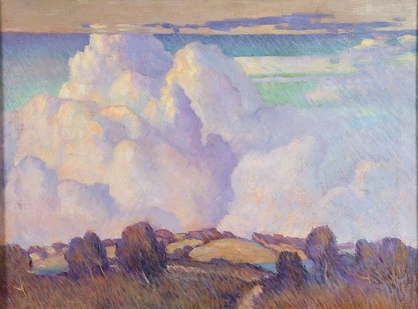 2: Painting, Marvin Cone (American) cloud landscape