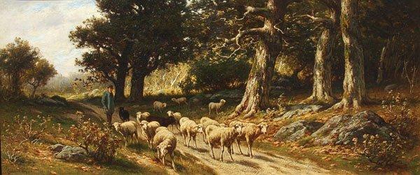 9: Painting, Carleton Wiggins (American) Sheep
