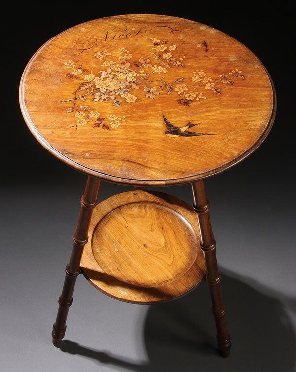 Furniture, French Mignon Freres side table