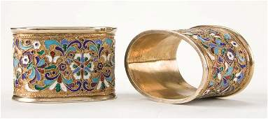 179 Pair Russian silvergilt and enamel napkin rings