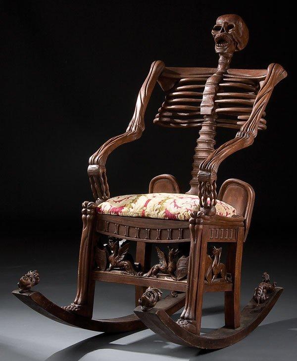 246: Furniture, skeleton rocking chair