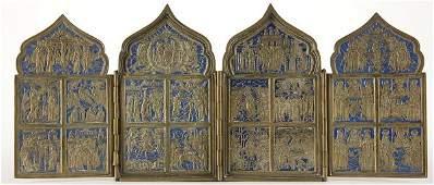311 Russian bronze and enamel folding icon