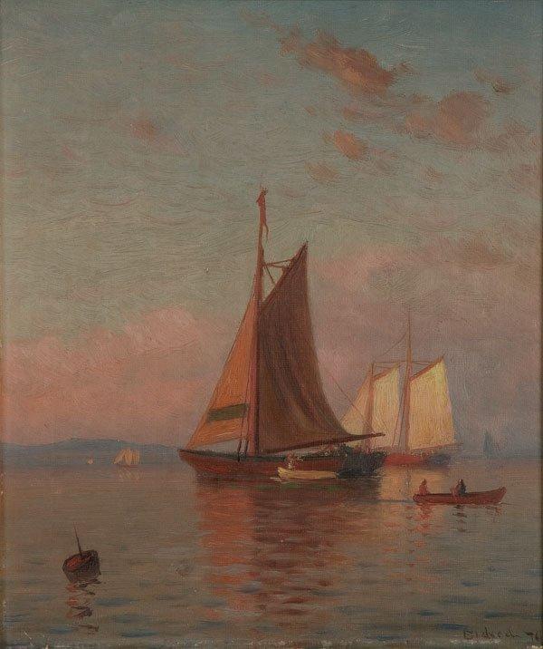 346: Painting, Lemuel Eldred (American) Seascape